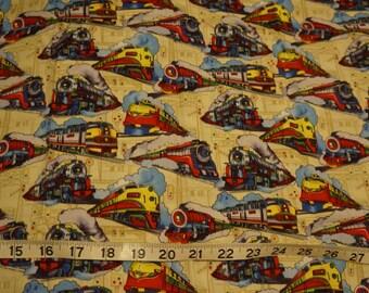 Train Engine Locomotive Fabric - 1/2 yard
