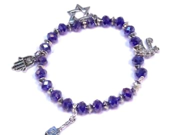 Chanukah Bracelet - Beaded with 4 Charms