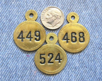 Brass Room Number Skeleton Key Tag Lot Rare Tab Tops Antique Victorian Ephemera Motel ID Check Painted Numbered Hardware Fobs