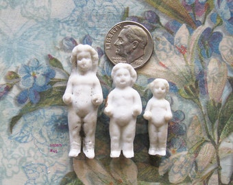 Antique Frozen Charlotte German Doll Lot Undamaged Bisque Sisters Goth Surreal Jewelry Art Assemblage Shrine Relic Findings