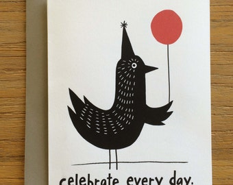 Folk Art Black Birds A2 Greeting Card – Celebrate Every Day