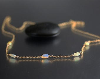 Ethiopian Opal Necklace - 5 Nuggets - Opal Necklace - Gold Fill
