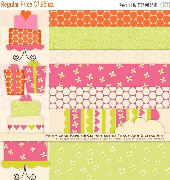 Pink and Lime Party Cake Clip Art and Digital Paper Design Set - 5.