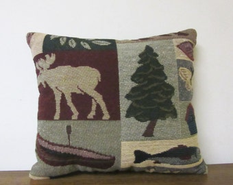 Child Pillow Car Pillow Camper Travel Moose Tapestry Cabin Lodge Canoe Pine Tree Fish
