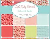 "SALE 50% Off SQ118 Moda Little Ruby Flannels Precut 5"" Charm Pack Fabric Quilting Cotton Squares Bonnie & Camille 55130PPF"