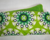 Heat Therapy Rice Bag - Lime Green Design with Green Fleece -- Washable Cover
