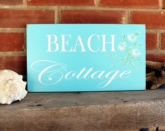 Shabby Beach Cottage Wood Sign Hand Painted Daisies Plaque Coastal Decor