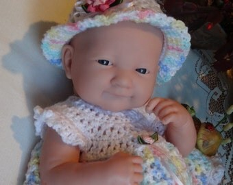 Crocheted outfit for 14 inch Baby Doll La Newborn Infant Dress Set Pastel Pink Roses Ribbon
