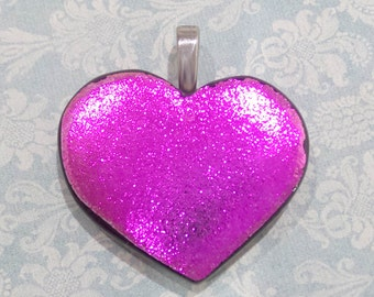 Hot Pink Heart Necklace, Dichroic Pendant, Fused Glass Jewelry, Gift for Her, Valentines Day, Ready to Ship - Park Place - 1817-6