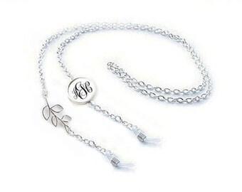 Monogram Leaf Eyeglass Chain, Eyeglass Holder, Eyeglass lanyard, reading glasses chain, Tree eyeglasses cord Bronze or Silver