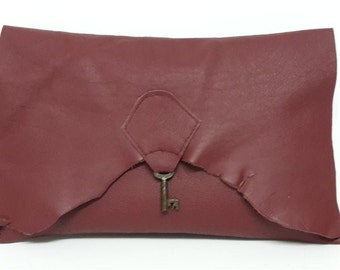 Raw edge leather clutch purse with vintage key - maroon