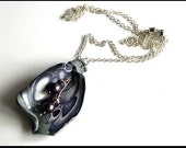 Purple Polymer Clay Pearl Pendant Chain Necklace