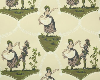 1950's Vintage Wallpaper - Dancing Maiden Novelty Scenic with Man and Woman in Green Yellow and Brown