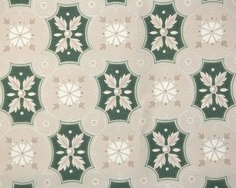 1940's Vintage Wallpaper - Green Gray and White Geometric