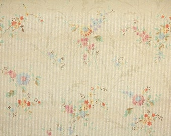 1920s Vintage Wallpaper by the Yard - Antique Floral Wallpaper Tiny Stripe with Pink and Blue Flowers