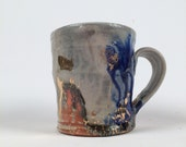 Wood Fired mug with gold poppies