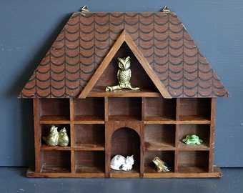 Wood House Knick Knack Shelf What Not Shelf for Miniatures
