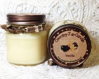 Jar Candle, Mason Jar, Vanilla Candle, 1/2 pint, soy wax blend, Moeggenborg Sugar Bush