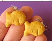 Christmas in July - Goldfish Earrings, Cracker Earrings, Goldfish Crackers, Food Jewelry, Miniature Food Earrings, Cracker Jewelry