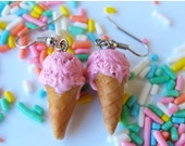 Christmas in July - Strawberry Ice Cream Cone Earrings, Ice Cream Earrings, Polymer Clay Food, Food Jewelry, Miniature Food Jewelry