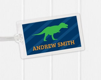 Dinosaur Bag Tag - Striped Dino Sports Bag Tag - Diaper Bag Tag - Kids Bag Tag Luggage Tag - trex - tyrannosaurus rex - brontosaurus
