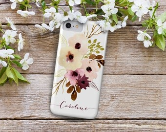 iPhone 7 Personalized Case  - Floral Watercolor - Autumn Cream Flowers - Plum, pink and vanilla - other models available