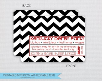 Chevron Kentucky Derby Invitation - Dinner Party - DIY - Instant Download & Editable File - Personalize at home with Adobe Reader