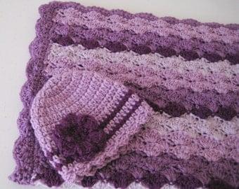 READY TO SHIP Crochet Baby Blanket Set, Baby Shower Gift, Baby Girl Blanket, Large Stroller - Car Carrier Blanket  -  Purple Baby Blanket