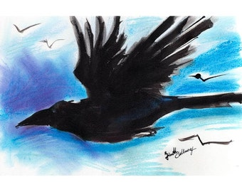 Raven Minimalist Modern Pastel and Ink Painting by Ginette