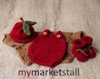 Baby Apple Hat/Romper/Bootie Set - 0-3 Months - Ready to Ship