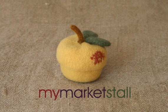 Felted Wool Peach Jar/Bowl with Removable Lid/Ready to Ship