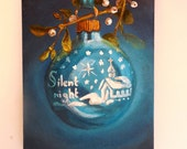 Christmas Ornament Painting Silent Night Shiny Brite ooak original vintage aqua