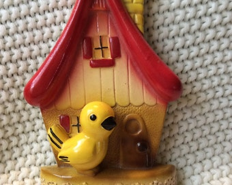 Vintage Bird Chalkware with key hangers CUTE