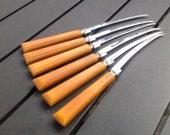 Vintage Art Deco Butterscotch Bakelite Knives Knife Set of Six