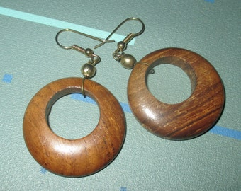 Vintage MOD Wood Dangle Earrings