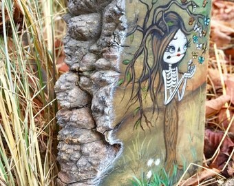 Sugar skull original painting Maple Burl tree girl day of the dead art hand-painted butterfly skeleton girl OOAK