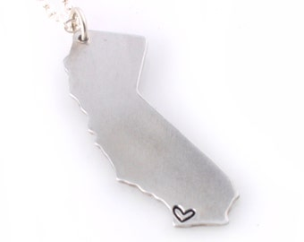 Personalized State Necklace - Where your heart is - Custom State Necklace with a Heart Over Your City