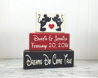 Sign blocks Mickey and Minnie Mouse Wedding PERSONALIZED Marriage Family Names Wedding Date Wood blocks primitive country rustic