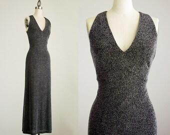 70s Vintage Gunmetal Silver Sparkle Maxi Dress / Size Small / 1970s Glam / Hippie Boho Style / Evening Gown