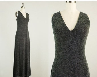 20% OFF SALE 70s Vintage Gunmetal Silver Sparkle Maxi Dress / Size Small