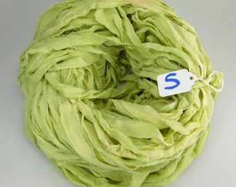 Silk Sari ribbon, Sari silk ribbon, Silk Chiffon Sari Ribbon, green sari ribbon, chiffon ribbon, green ribbon