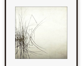 Black and white photography, minimal art, pale gray white wall art, lake reed grasses water reflection photograph  'Palindrome'