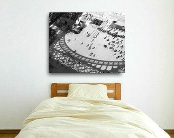 Paris Canvas Wall Art, Eiffel Tower, Paris Print, Black and White, Architecture Canvas Wrap, Modern Industrial Art
