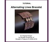 Beading Tutorial Pattern, Alternating Lines Bracelet. Beading Pattern with Bugle Beads. Beadweaving, Odd Count Peyote Beading Technique