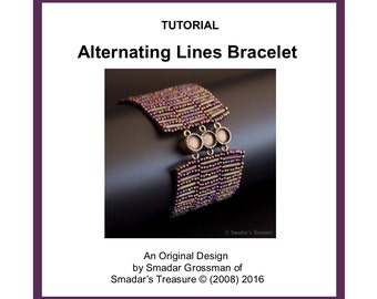Beading Tutorial Pattern, Alternating Lines Bracelet. Beading Pattern with Bugle Beads. Beadweaving, Odd Count Peyote Beading Technique