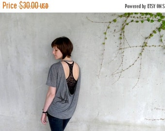 SALE Graphic tee for women - tshirt women - birdcage print on open back pony tee - black and heather gray - One That Got Away - CLOSEOUT