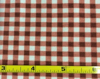 NEW BOLT by Girl Charlee marsala and white gingham on cotton Lycra  knit fabric 1 yard