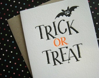Letterpress Card - Trick or Treat Halloween