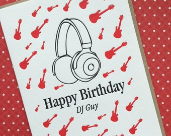 DJ Guy Birthday - letterpress card