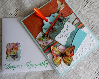 Sympathy card, butterfly tag greeting, balsampondsdesign, handmade, complete inside, complete outside, orange, brown, blue, thinking of you